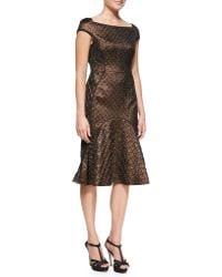 J. Mendel Cap-sleeve Flared-skirt Dress - Lyst