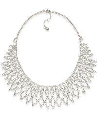 Carolee - Silver-tone Crystal Bib Frontal Necklace - Lyst