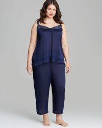 Oscar de la Renta - Plus Crinkle Satin Capri Pyjama Set - Lyst