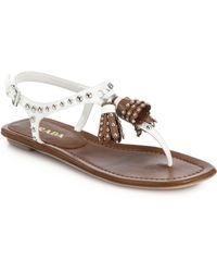 Prada Studded Tassel Leather Thong Sandals - Lyst