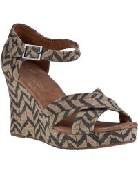 TOMS Strappy Wedge Sandal Natural Zebra Fabric - Lyst