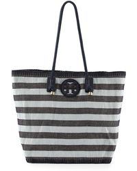 Tory Burch Oversized Stripe Canvas Tote Bag - Lyst