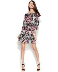 Inc International Concepts Smocked Printed Peasant Dress - Lyst