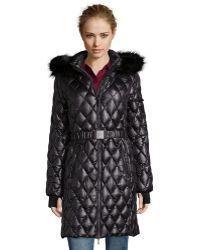 Diane von Furstenberg | Black Diamond Quilted Faux Fur Trim Hooded 3/4 Down Coat | Lyst