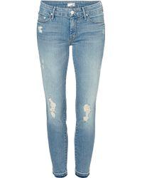Mother Undone Hem Looker Cropped Jeans - Lyst