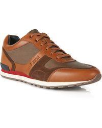 BOSS | 'runner' | Calfskin Textured Sneaker | Lyst