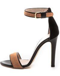 Club Monaco Casey Haircalf Sandals  Dark Camelblack - Lyst