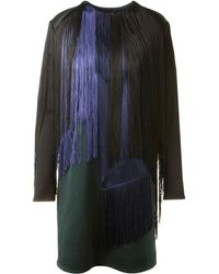 Lanvin Shift Fringed Black and Bottle Green Stretch Dress - Lyst