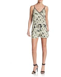 French Connection Daisy Print Drawstring Short Jumpsuit - Lyst