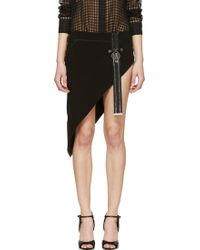 Anthony Vaccarello Black Chained Belt Asymmetric Skirt - Lyst