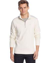 Calvin Klein Quarter-zip Solid Pique Fleece Pullover - Lyst
