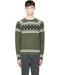 Diesel Green and Black Argyle K_arsha Sweater - Lyst