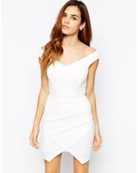 TFNC Bardot Body-Conscious Dress With Asymmetric Skirt beige - Lyst
