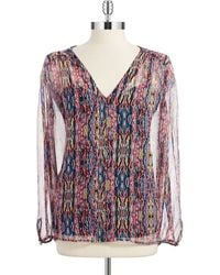 Ella Moss Silk Patterned Peasant Blouse - Lyst