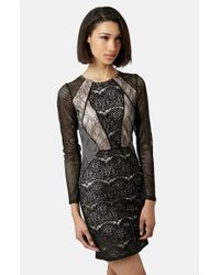 Topshop Lace Cutout Body-Con Dress - Lyst