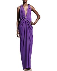 Lanvin Plunging Draped Evening Gown Purple - Lyst