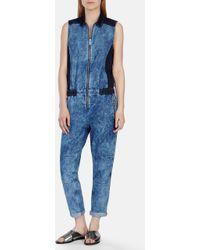 Karen Millen Acid Wash Denim Jumpsuit blue - Lyst