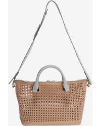 Chloé Medium Baylee Contrast Strap Perforated Leather Satchel Sand - Lyst