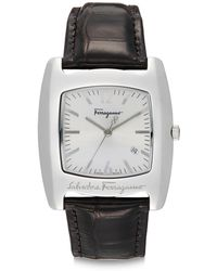 Ferragamo Stainless Steel Alligator Strap Watch - Lyst