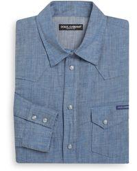Dolce & Gabbana Regular Fit Western Chambray Dress Shirt - Lyst