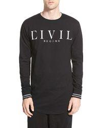 Civil Regime - 'civil Standard' Longline Long Sleeve Crewneck T-shirt - Lyst