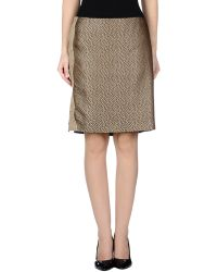 Ferré Knee Length Skirt khaki - Lyst