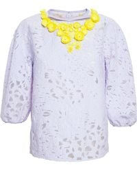 Giambattista Valli Macramé Lace Top With Embellishment - Lyst