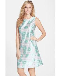Helene Berman Floral Stripe A-Line Dress - Lyst