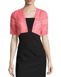 J. Mendel Lace Cropped Jacket pink - Lyst