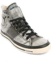 Diesel Exposure 1 Grey Denim High-Top Sneakers - Lyst