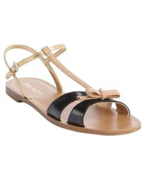 Prada Black and Tan and Gold Leather Bow Tie Detail Strappy Open Toe Sandals - Lyst