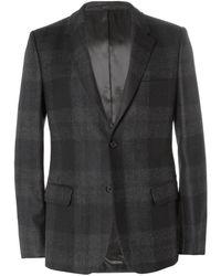 Alexander McQueen Grey Slimfit Check Wool Suit Jacket - Lyst