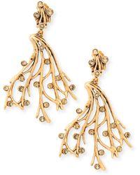 Oscar de la Renta Crystal Vine Clip-On Earrings - Lyst