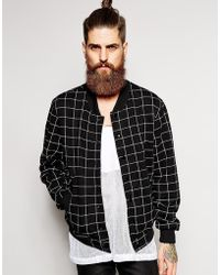 American Apparel - Check Sweat Bomber - Lyst