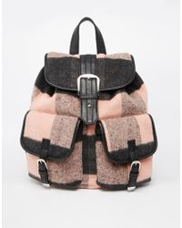 Asos Pink Check Backpack - Lyst