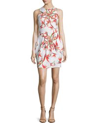 Nicole Miller Artelier - Bird-Of-Paradise Linen-Blend Dress - Lyst