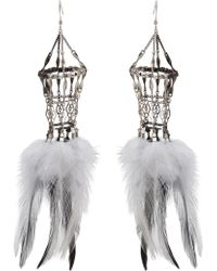 Clemmie Watson - Feather Cage Earring - Lyst