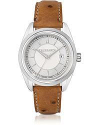 Trussardi - Stainlees Steel W/Ostrich Leather Strap Women'S Watch - Lyst