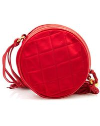 Chanel Pre-Owned Red Quilted Silk Bag - Lyst