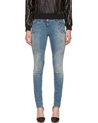 Pierre Balmain Blue Faded Skinny Moto Jeans - Lyst