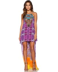Camilla Short Sheer Overlay Dress multicolor - Lyst
