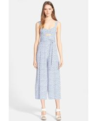 Rebecca Taylor 'Ditsy Tulip' Print Jumpsuit blue - Lyst