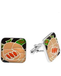 Roberto Coin - Men's Sterling Silver And Enamel Flower Pattern Cuff Links - Lyst