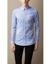 Burberry Slim Fit Cotton Gingham Jacquard Shirt - Lyst