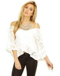 Nightcap Crochet Ruffle Blouse In White white - Lyst