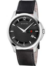 Gucci Mens Black Strap Black Dial Watch - Lyst