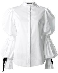 Alexander McQueen Bishop Sleeve Blouse - Lyst