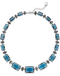 Lauren by Ralph Lauren Silver-tone Blue Bead Graduated Collar Necklace - Lyst
