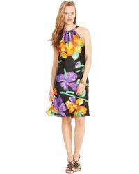 Lauren by Ralph Lauren Silk Floral Halter Dress - Lyst