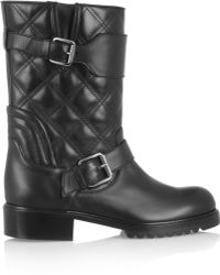 Marc Jacobs Quilted Leather Biker Boots - Lyst